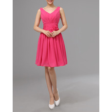 Discount V-Neck Sleeveless Short Shirred Skirt Chiffon Bridesmaid/Wedding Party Dresses