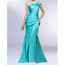 Modern Sheath Asymmetrical Neckline Sweep Train Ruched Satin Evening Dresses with Side Slit