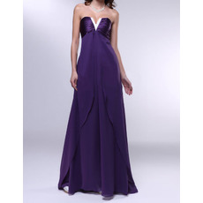 Stylish Empire Strapless Full Length Chiffon Evening Dresses With Beaded V-neck
