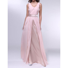 Discount Sheath U-Neck Long Chiffon Ruched Evening Dresses with Split Front