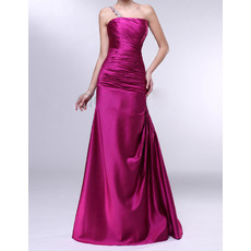 Modern Mermaid/ Trumpet One Shoulder Beaded Full Length Satin Evening Party Dresses with Side Draping