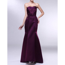 Modern Mermaid/ Trumpet Strapless Full Length Satin Evening Party Dresses with Beaded Appliques