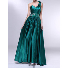 Modern One Shoulder Flower Strap Long Evening Dresses with Beaded Waist