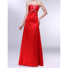 Modest A-Line Sweetheart Sleeveless Sweep Trai Red Satin Evening Dresses with Rhinestone