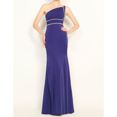 Top Style Sheath Modest Asymmetrical Neckline Full Length Chiffon Evening Party Dresses