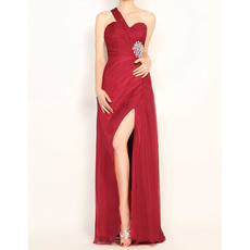 Sexy One Shoulder Pleated Tulle Ruched Evening Dresses with Side Split and Beaded Waist