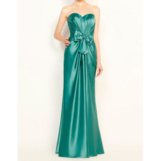 Classic Sheath Sweetheart Long Pleated Satin Evening Party Dresses with Bowknot
