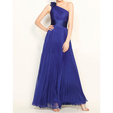 Vintage One Shoulder Flower Strap Floor Length Pleated Chiffon Evening Dresses