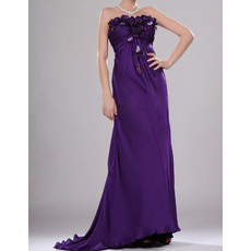 Gorgeous Strapless Full Length Pleated Chiffon Evening Dresses with 3D Flowers Detail