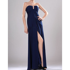 Stylish Unique Empire Strapless Chiffon Long Evening Dresses with Split Front
