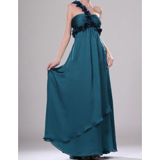 Inexpensive Floral One Shoulder Full Length Pleated Chiffon Evening Dresses