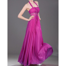 Inexpensive Empire Halter Sleeveless Long Chiffon Evening Dresses with Rhinestone