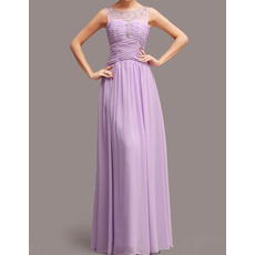 Modest Formal Illusion Tulle Neckline Sweep Train Chiffon Evening Party Dresses with Beaded