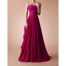 Elegant A-Line One Shoulder Long Pleated Chiffon Evening Dresses Evening/Prom Party Dresses with Rhinestone