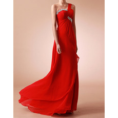 New Arrival One Shoulder Brush/ Sweep Train Chiffon Evening/Prom Party Dresses
