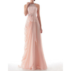 Inexpensive Sheath Jewel Neck Long Chiffon Evening Party Dresses with Side Draping