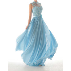 Discount Sheath High-Neck Full Length Chiffon Evening Dresses with Appliques Beaded