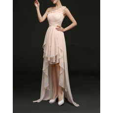Stylish One Shoulder High-Low Asymmetric Pleated Chiffon Evening Dresses