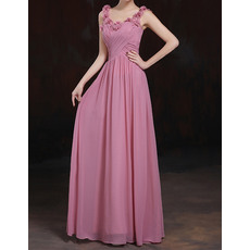 Stylish Sleeveless Crisscross Ruched Bodice Long Pleated Chiffon Evening Dresses with 3D Flowers