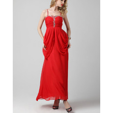 Classy Column Spaghetti Straps Long Pleated Chiffon Evening Party Dresses with Side Draping