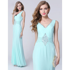 Beautiful Sheath V-Neck Full Length Chiffon Evening Dresses with Beaded