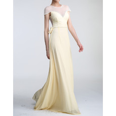 Vintage Cap Sleeves Long Tulle Chiffon Mother Of The Bride Evening Dresses with Illusion Neck