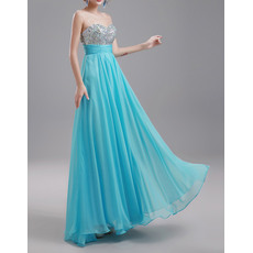 New Style V-back Sequined Beaded Long Pleated Chiffon Beading Evening Party Dresses