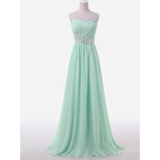 Elegant A-Line Sweetheart Sleeveless Sweep Train Chiffon Evening Dress with Beaded Appliques