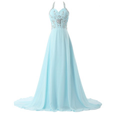 Gorgeous A-Line Halter Sleeveless Rhinestone Chiffon Evening Dress with Train