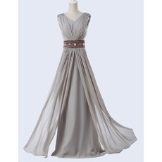 Elegant A-Line V-Neck Floor Length Chiffon Evening Dress with Belt