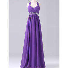 Popular Simple Style Empire Halter Sleeveless Long Chiffon Evening Dresses
