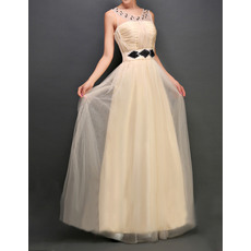 Discount Bateau Sleeveless Floor Length Tulle Evening Dresses