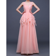 Elegant V-Neck Floor Length Chiffon Layered Skirt Evening Dresses