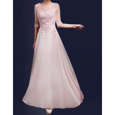 New Simple A-Line Floor Length Chiffon Evening Dresses with Sleeves