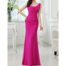 Custom Sexy Sheath Sleeveless Floor Length Chiffon Evening Dresses