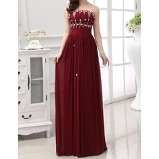 Dramatic Strapless Sleeveless Long Pleated Chiffon Evening Dresses with Beaded Rhinestone