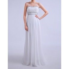 Beautiful Beaded Sweetheart Sleeveless Full Length Pleated Chiffon Maternity Evening Dresses with Rhinestone