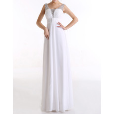 Dramatic Empire Beaded Scoop Sleeveless Long Chiffon Evening Dresses with Ruched-Bodice