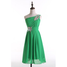 Dramatic Modern A-Line Asymmetrical Neckline Knee Length Pleated Chiffon Homecoming Dresses
