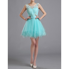New Arrival Stylish A-Line Round Neck Sleeveless Short Lace Tulle Homecoming Dresses with Pleated Skirt