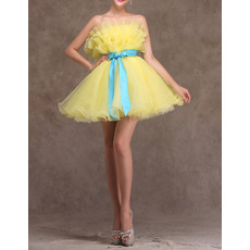 Charming A-Line Ruffled Strapless Short Organza Tiered Homecoming Dresses