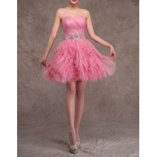 Popular Sweetheart Ball Gown Short Tulle Ruffled Tiered Homecoming Dresses with Beaded