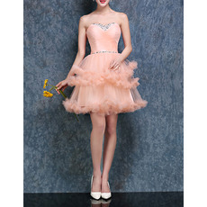 Charming Sweetheart Ball Gown Short Tulle Ruffled Tiered Homecoming Dresses with Beaded