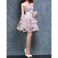 Charming Strapless Ball Gown Short Organza Tiered Homecoming Dresses with Flowers