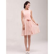 Discount Bateau Sleeveless Short Pleated Chiffon Homecoming Dresses with Sashes