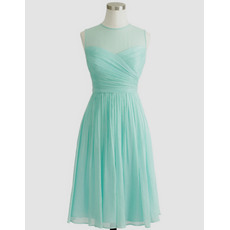 New Arrival Charming Illusion Neckline Short Pleated Chiffon Homecoming Dresses