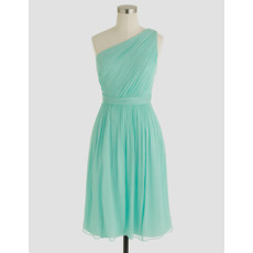 Affordable Asymmetrical Neckline Sleeveless Short Pleated Chiffon Homecoming Dresses