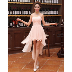 Modern Sweetheart Sleeveless Hi-low Asymmetric Hem Ruched Chiffon Homecoming Dresses