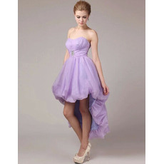 Charming A-Line Sweetheart High-Low Asymmetrical Pleated Organza Homecoming Dresses with Beaded