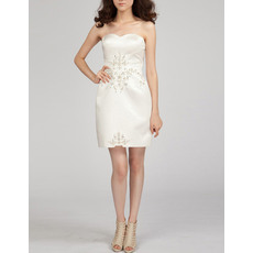 Discount Column Sweetheart Short Satin Homecoming/ Cocktail Dresses